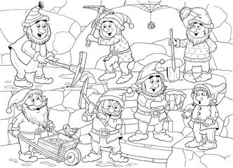 The Snow White and seven dwarfs. Fairy tale. Coloring page. Cute and funny cartoon characters