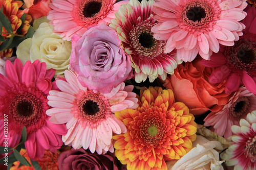 Gerberas and roses in bridal bouquet