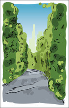 Digital Vector Sketch Of A Road To City Between Green Trees In Park