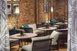 Interior of restaurant. Brick wall. Modern design.
