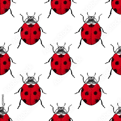 Red ladybugs beetle vintage seamless pattern