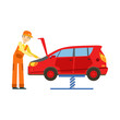 Smiling Mechanic Looking At Engine In The Garage, Car Repair Workshop Service Illustration