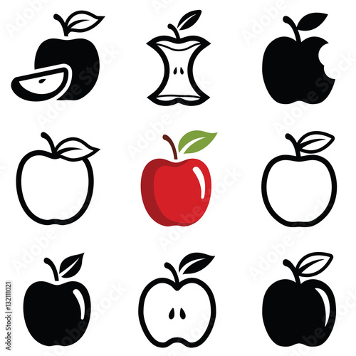 Valokuva  Apple icon collection - outline and silhouette illustration