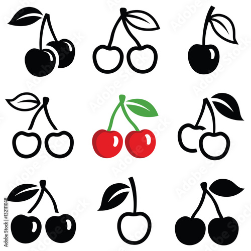 Fototapeta  Cherry icon collection - outline and silhouette illustration