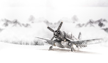 World War II Military Aircraft With Heavy Snowfall