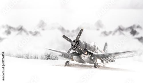 World war II military aircraft with heavy snowfall Wallpaper Mural