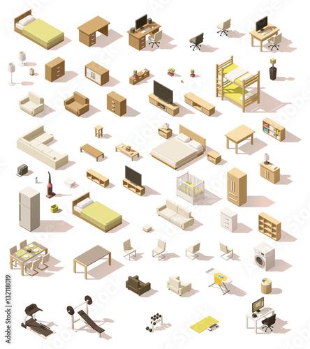 Fotografía  Vector isometric low poly domestic furniture set
