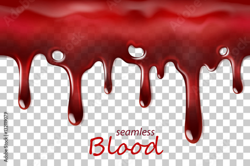Fotografia  Seamless dripping blood repeatable isolated on transparent