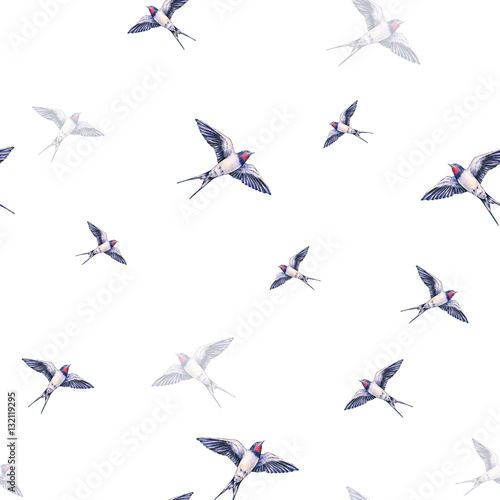 Cotton fabric Beautiful swallow on a white background. Watercolor illustration. Spring bird brings love. Handwork. Seamless pattern