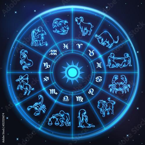 Obraz Light symbols of zodiac and horoscope circle, astrology - fototapety do salonu