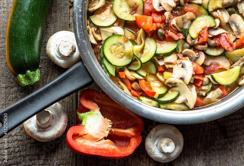 Fototapeta Fresh vegetarian dish made from cooked vegetables, healthy eatin obraz