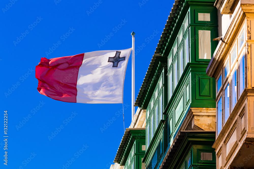Malta Valletta Nation Flag Erker / Oriel / bendiera / Fahne / Flagge ...