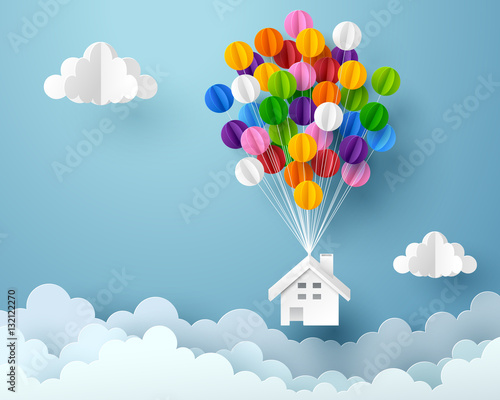 Fotografie, Obraz  Paper art of house hanging with colorful balloon