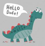 Fototapeta Dinusie - cool, cute dinosaur illustration