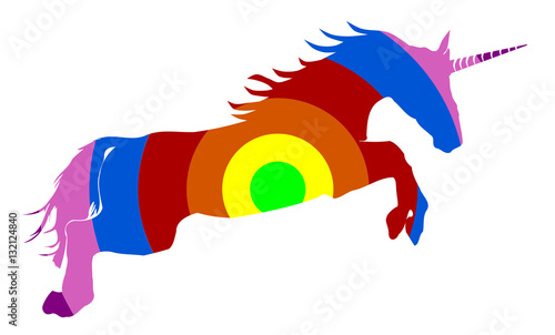 Fotobehang Draw Rainbow colored unicorn on white