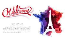 Paper Art Of  France With Red Welcome Ribbon And Space For Text