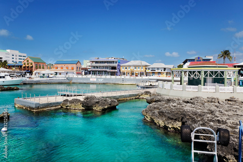 Obraz Waterfront shopping area in George Town, Grand Cayman - fototapety do salonu