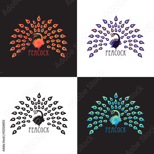 Illustration peacock, logo design set. Vector abstract logo of colored bird peacock with crown on background. Template for icon, logo, print, tattoo. Peacock tail open. Front view. Wall mural