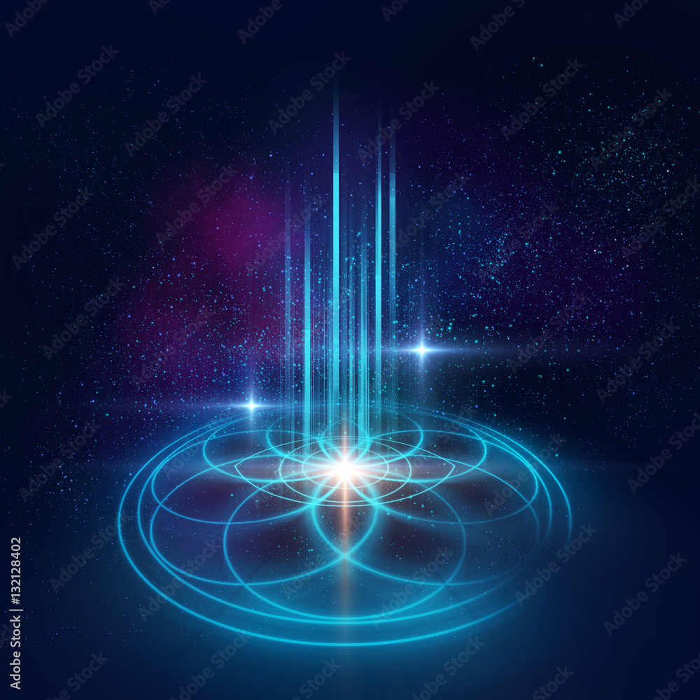 Fototapeta Sacred geometry symbols and elements background. Alchemy, religi
