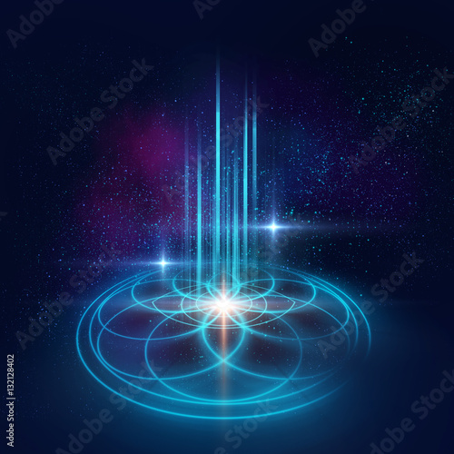 Cuadros en Lienzo Sacred geometry symbols and elements background. Alchemy, religi