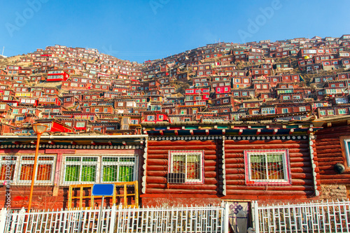 Foto op Plexiglas Temple Red monastery and home at Larung gar (Buddhist Academy) in sunshine day and background is blue sky, Sichuan, China