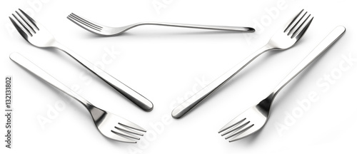 Fotografie, Obraz  collection fork Stainless steel isolated over the white