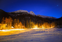 Strażyska Valley And Giewont In Tatra Mountains At Night. Silhouette Of Sleeping Knight.