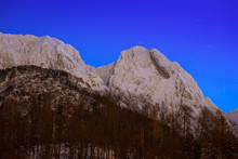 Mount Giewont In Tatra Mountains At Night. Silhouette Of Sleeping Knight.