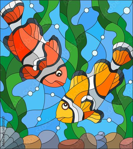 ilustracja-w-stylu-witrazu-z-para-clown-ryb-na-tle