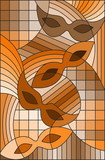 Illustration in stained glass style on the theme of carnival, abstract, mask,sepia