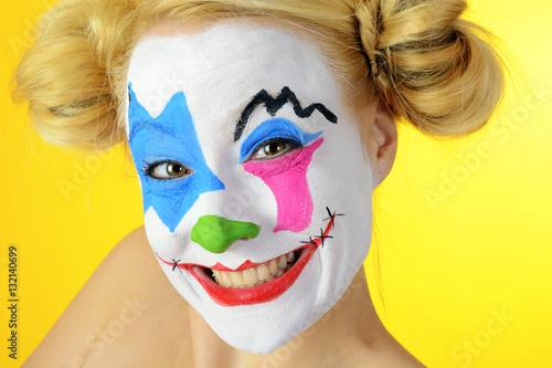 Clown Mit Schminke Zu Karneval Fasching Oder Fastnacht Buy This