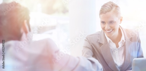Manager interviewing a male applicant Canvas Print