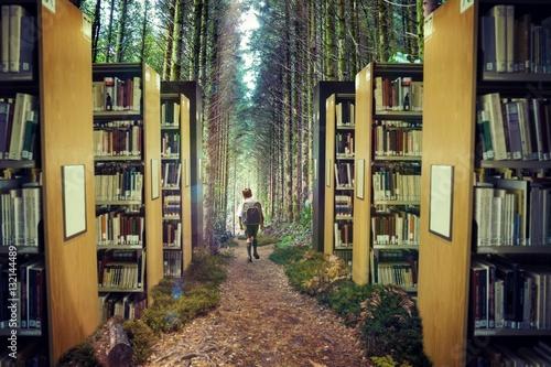 Obrazy wieloczęściowe wizerunek ucznia w lesie 3d