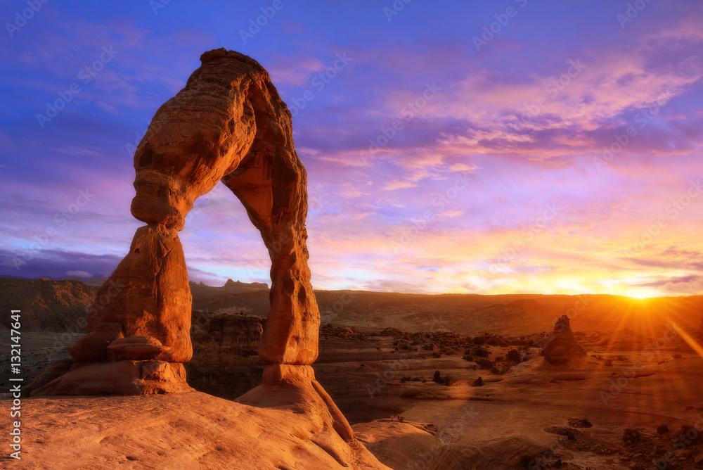 Fototapeta Soft light sunset of Delicate Arch Utah