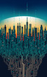 City online. Abstract futuristic digital city, hi-tech information concept