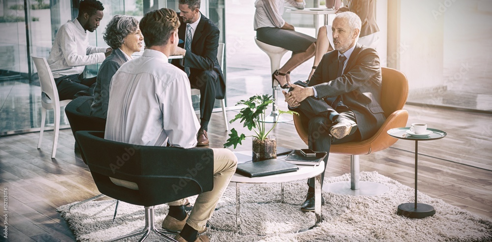 Fototapeta Business executive interacting with each other