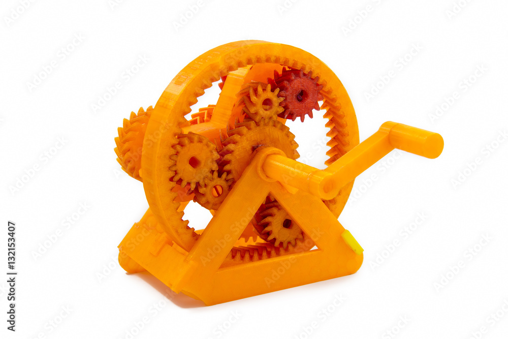 Photo  Orange Gear Shaped Object Printed With 3D Printer