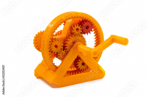 Fotografia  Orange Gear Shaped Object Printed With 3D Printer