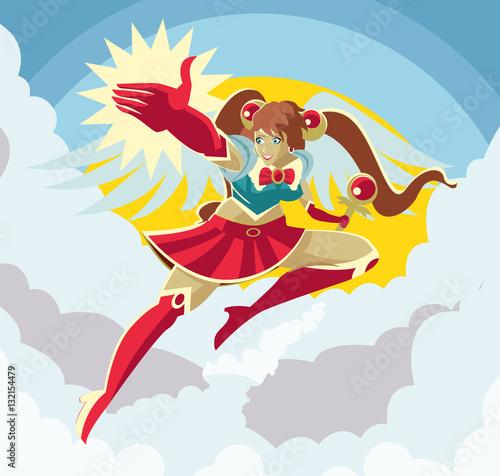 Fotografie, Obraz  happy powerful anime girl winged schoolgirl hero in the sky