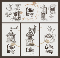 Fototapeta set vector business card with drawing utensils for drinking coffee