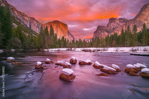 Yosemite National Park at dusk with snow caps Canvas Print