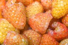 Closeup Macro Of Golden Raspberries