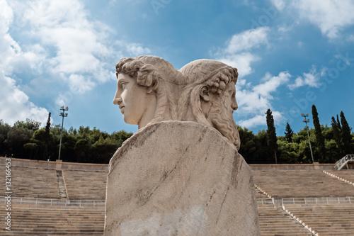 Herm scultpure  on Panathenaic stadium, Kallimarmaro in Athens, Greece