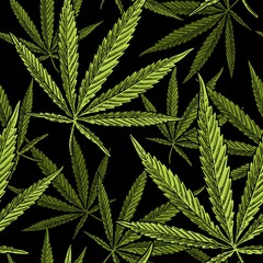 Fototapeta Vintage Seamless pattern with marijuana leaf. Vintage black vector engraving illustration