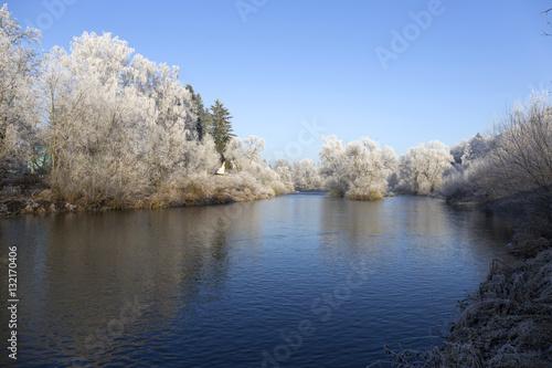 Foto op Aluminium Blauw Fairytale snowy winter rural landscape with blue Sky in Bohemia, Czech Republic