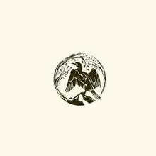 Abstract Round Cormorant Wild Logo Design