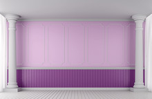 Empty Wall Classic Style For Valentine 3d Rendering Image.A Blank Wall With Pink And Purple Decorated With Doric Columns And White Skirtings