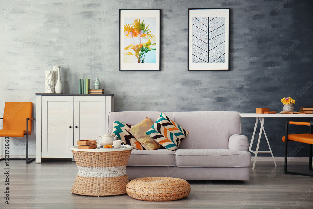 Fototapety, obrazy: Modern living room with sofa and furniture