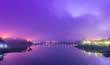 Leinwanddruck Bild - Sangkhlaburi village antique bridge landmark traditional culture in dam lake, kanchanaburi, Thailand