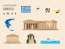 Concept Greece Landmark Flat Icons Design .Vector Illustration